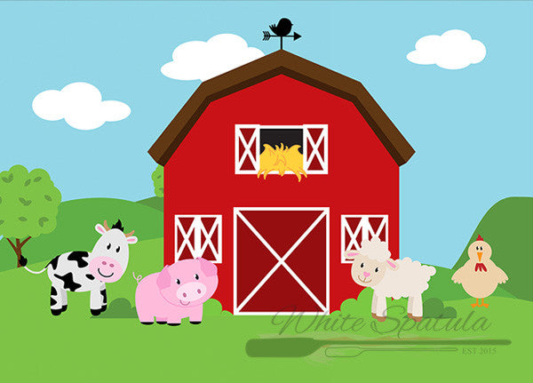 Barnyard/Farm Animals Backdrop - White Spatula Singapore