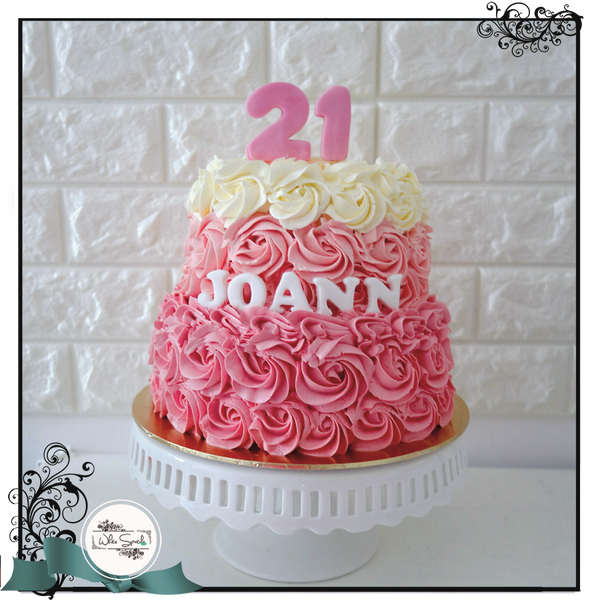 Ombre Rosettes Buttercream Cake - Customized cake singapore