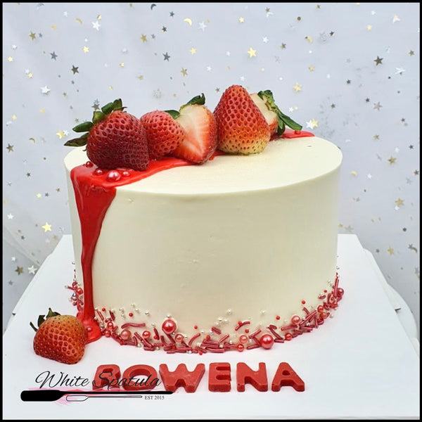 Strawberry Lychee Korean Lettering / Minimalist Buttercream Cake