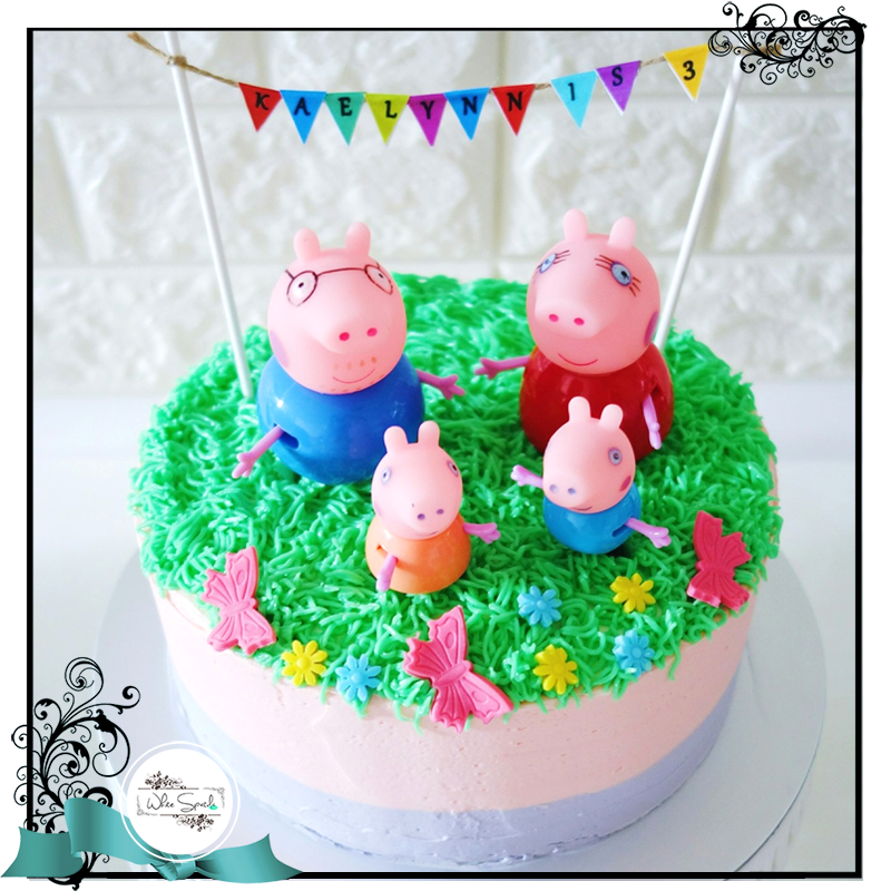 Piggy Family Buttercream Cake - White Spatula Singapore