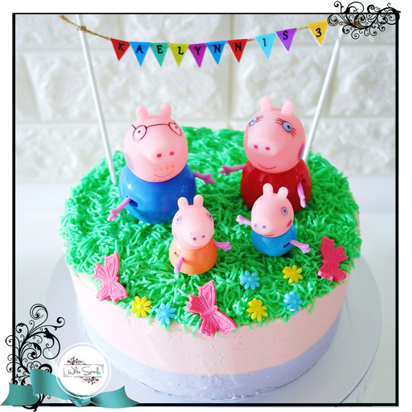 Peppa Pig Buttercream Cake - White Spatula Singapore