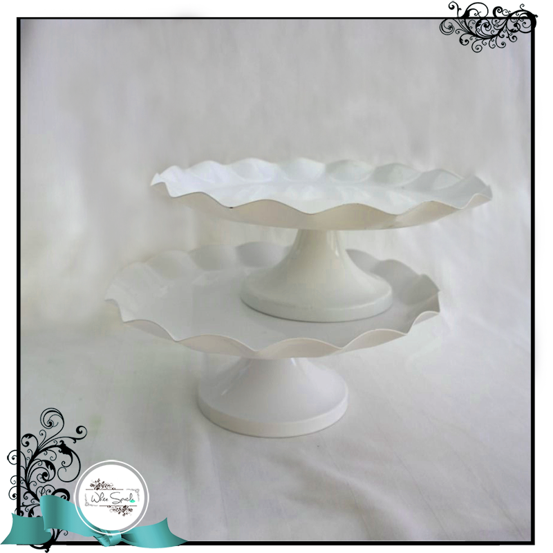 Ruffled Sides Round Cake Stands - White Spatula Singapore