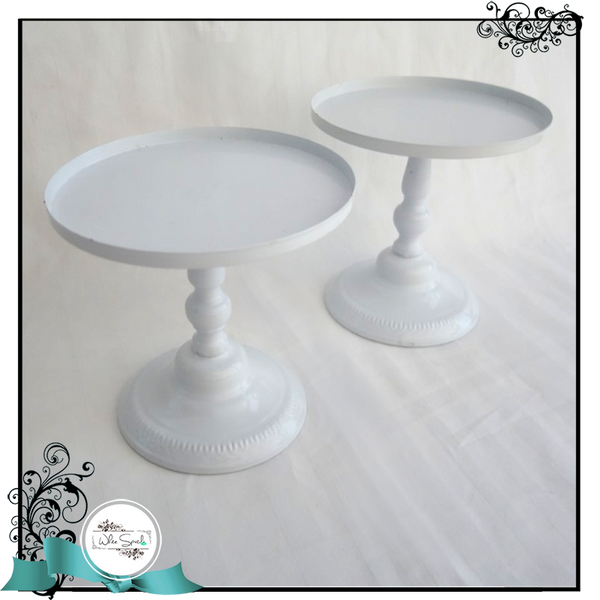Round White Cake Stands (Tall) - White Spatula Singapore
