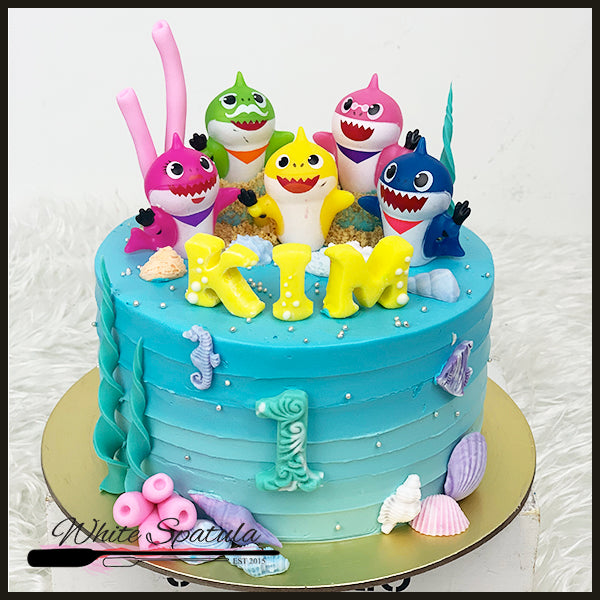 Shark & Family Buttercream Cake - White Spatula Singapore