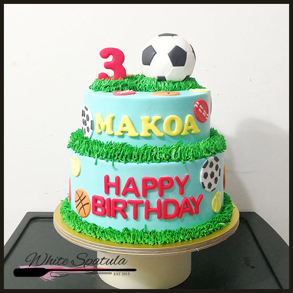 Football / Soccer / Basketball Buttercream Cake - White Spatula Singapore