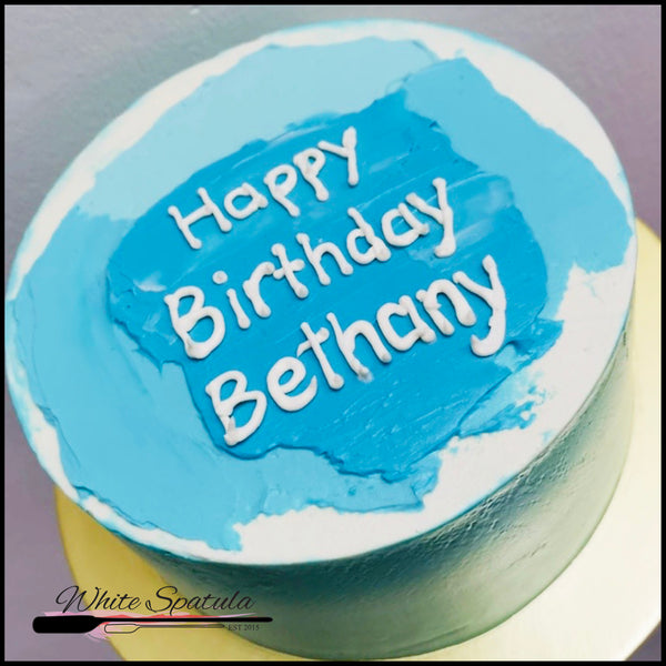 Blue Korean Lettering / Minimalist Buttercream Cake