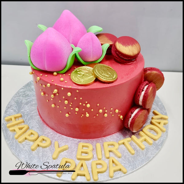 Peachy Longevity with Macarons Buttercream Cake