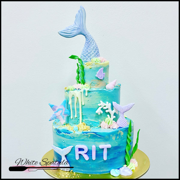 3 Tier Teal & Purple Mermaid Tail Buttercream Cake
