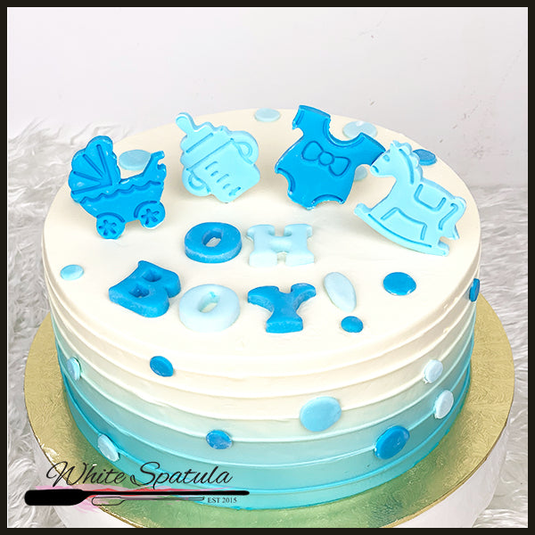 Oh Boy/Girl Baby Shower Buttercream Cake - White Spatula Singapore