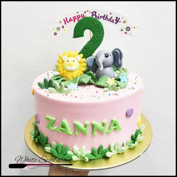 Cute Pink Safari Animal Buttercream Cake
