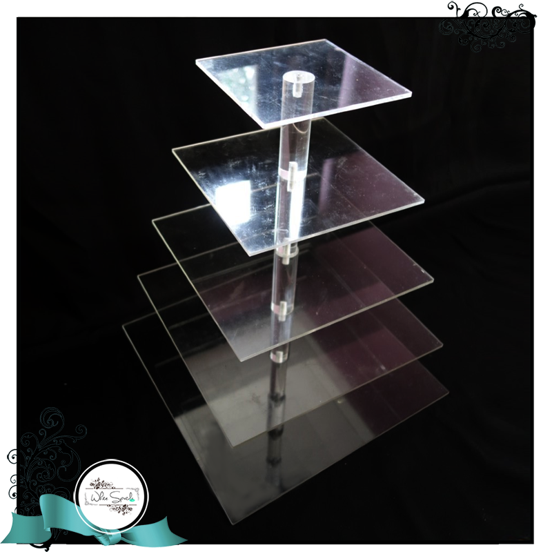 Multi-tiered Acrylic Stand (Square) - White Spatula Singapore