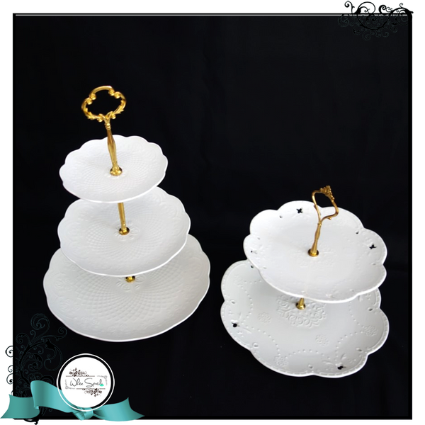 2 and 3-tier white stands - White Spatula Singapore