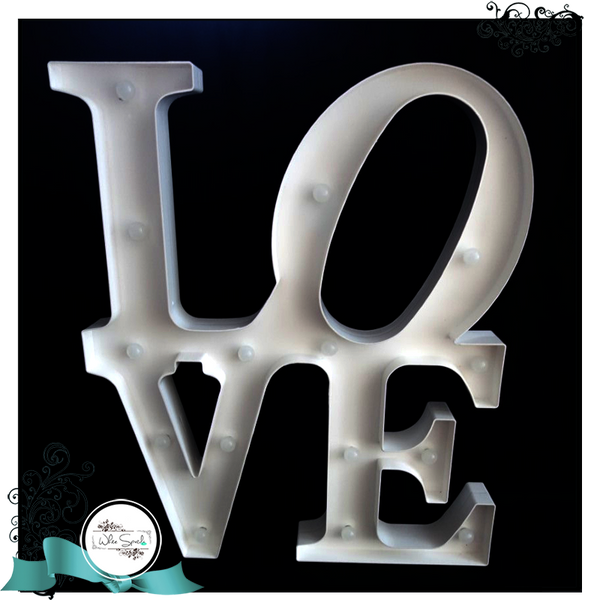 LOVE signage with lighting (Large) - White Spatula Singapore