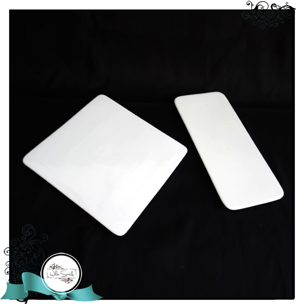 White rectangle and square plates - White Spatula Singapore