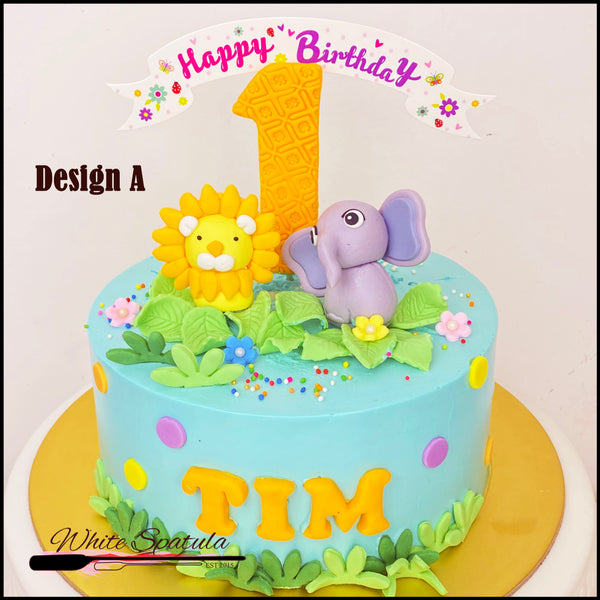 Cute Pastel Safari Buttercream Cake