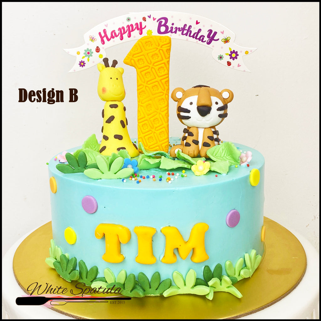 Cute Pastel Safari Buttercream Cake - White Spatula Singapore