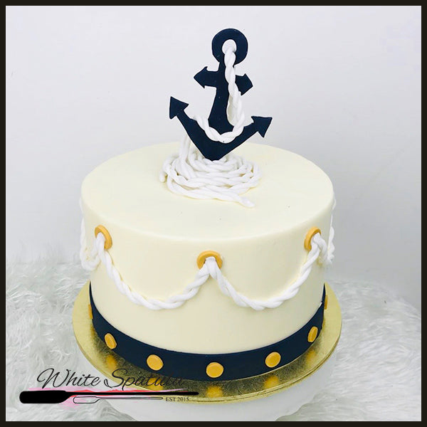Nautical Buttercream Cake - White Spatula Singapore