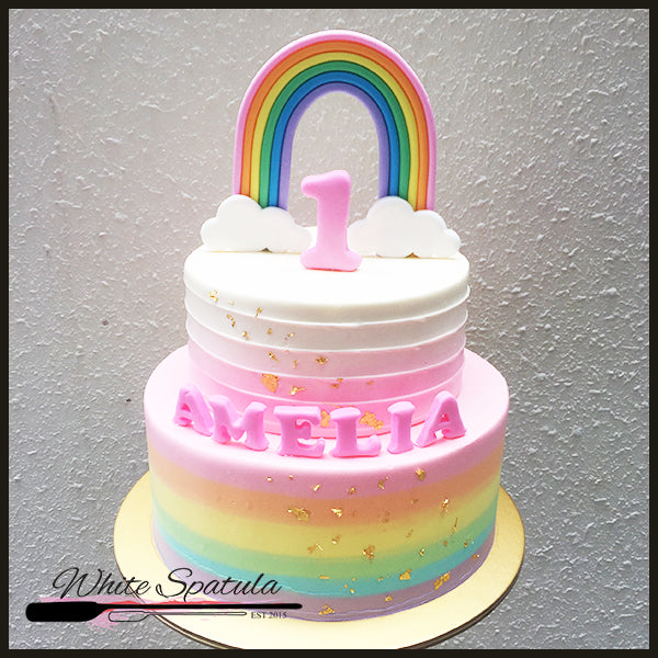Rainbow Buttercream Cake - White Spatula Singapore