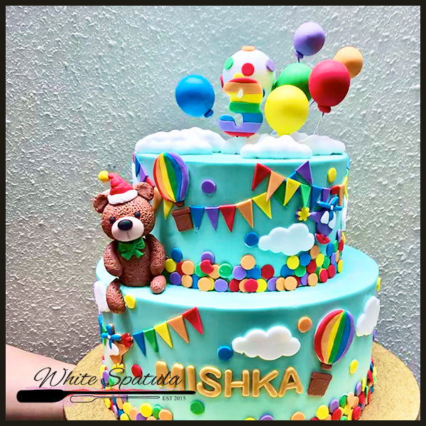 Teddy Bear Rainbow Buttercream Cake - White Spatula Singapore