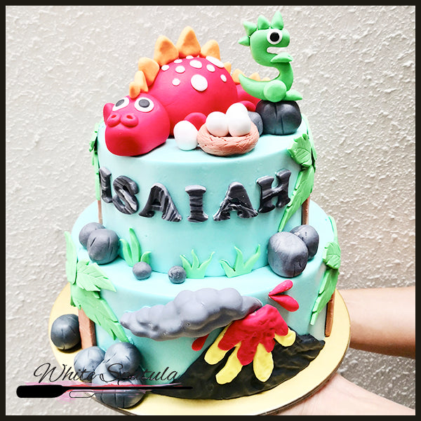Red Dinosaur Buttercream Cake - White Spatula Singapore