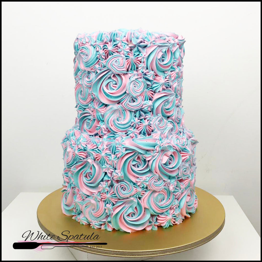 Lovely Rosettes Buttercream Cake - White Spatula Singapore