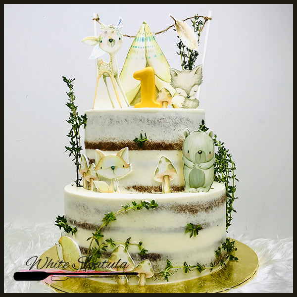 Teepee Buttercream Cake - White Spatula Singapore