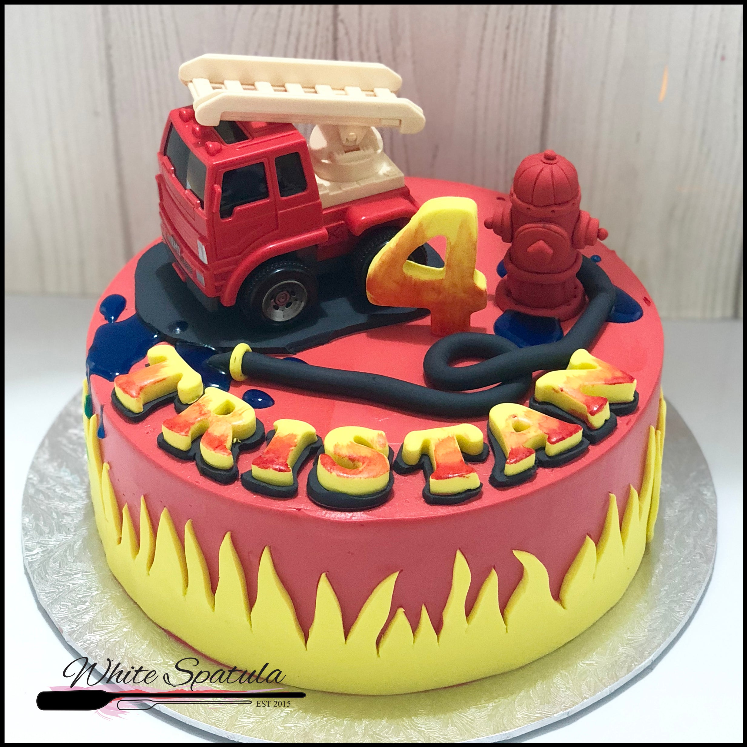 Awe Inspiring Fire Engine Buttercream Cake Singapore White Spatula Personalised Birthday Cards Arneslily Jamesorg