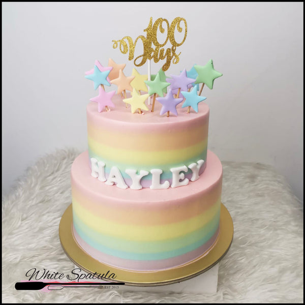 Pastel Rainbow with Stars Buttercream Cake