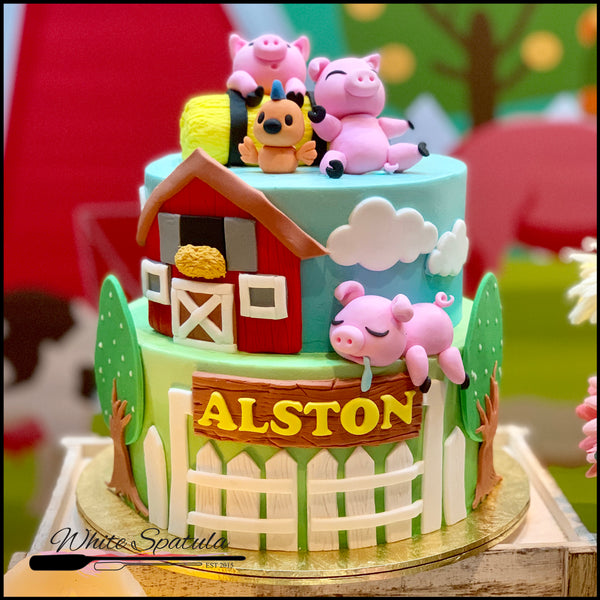 Piggy / Barnyard Animal Buttercream Cake - White Spatula Singapore
