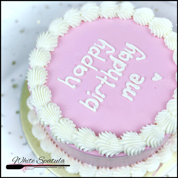 Korean Lettering / Minimalist Buttercream Cake - White Spatula Singapore