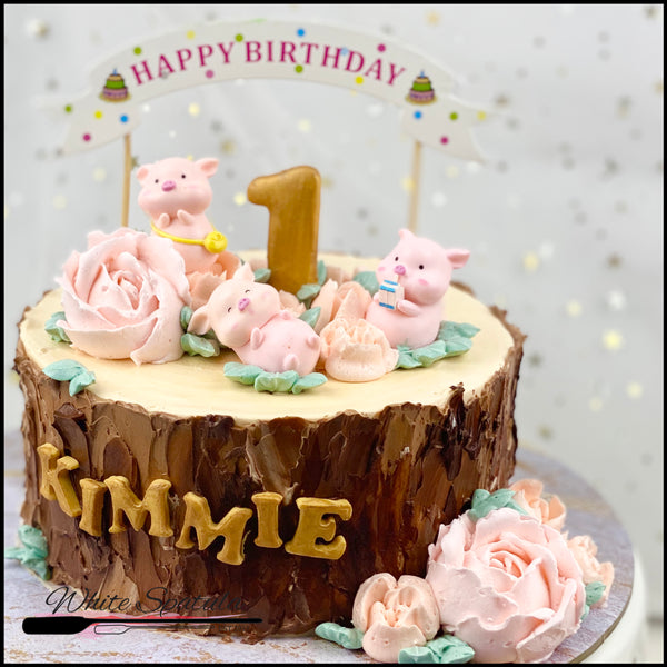 My Little Piglets Buttercream Cake - White Spatula Singapore