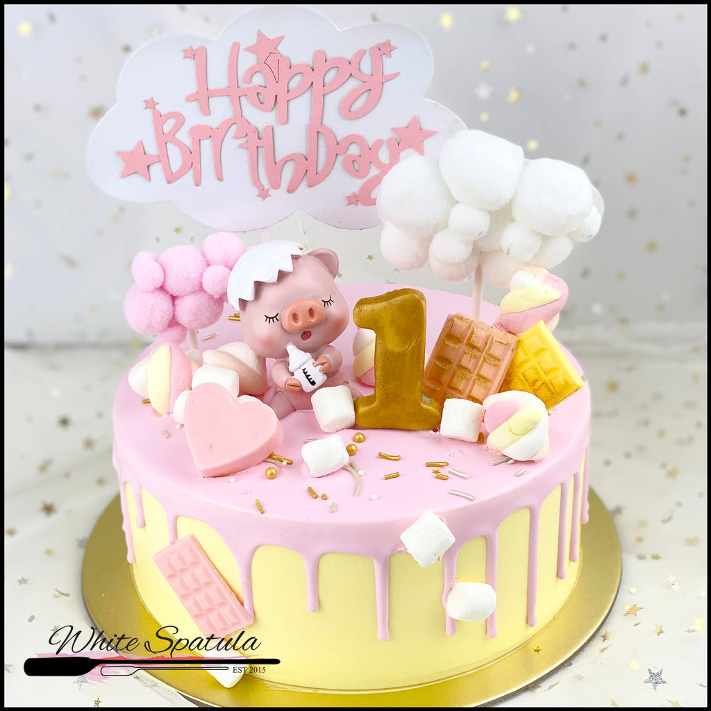 Baby Piggy Buttercream Cake - White Spatula Singapore