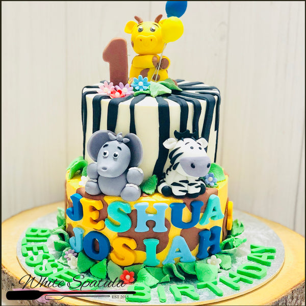 Safari Animal Buttercream Cake - White Spatula Singapore
