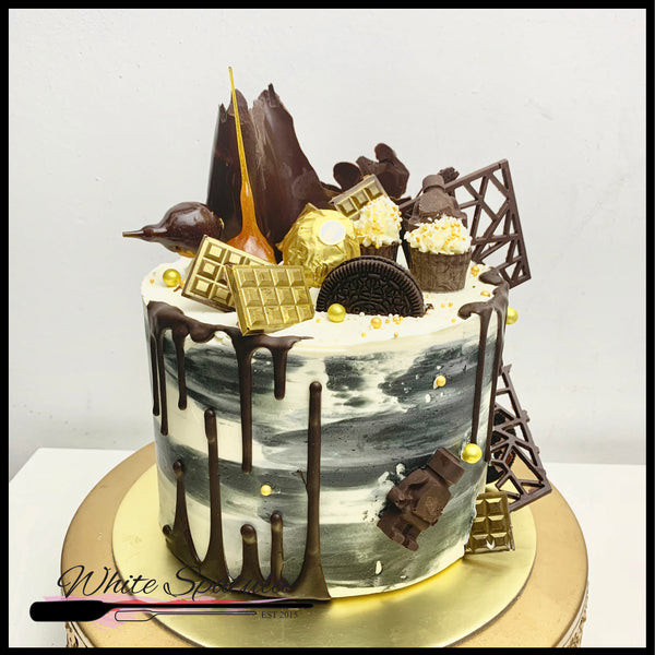 Chocolate Drip Buttercream Cake - White Spatula Singapore