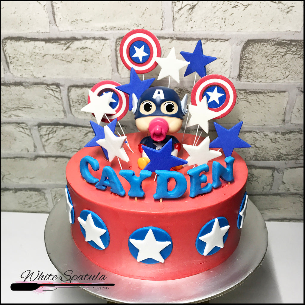 Captain America Buttercream Cake - White Spatula Singapore