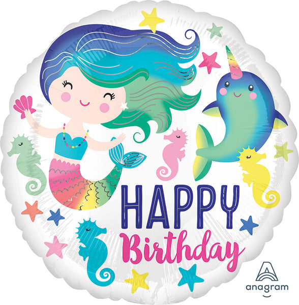 "Colorful Ocean Mermaid Birthday Balloons (18"") - White Spatula Singapore"