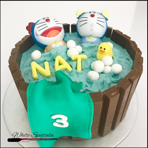 "Doraemon ""Fun In The Tub"" Cake - White Spatula Singapore"
