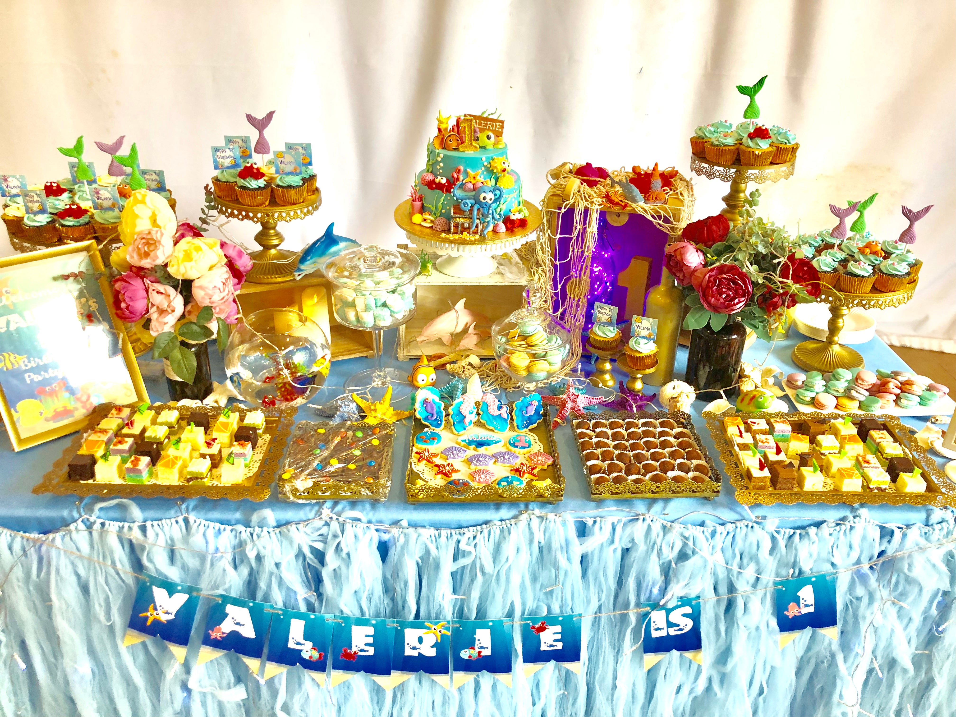 Swell First Birthday Dessert Table Full Month Dessert Table Baby Shower Personalised Birthday Cards Cominlily Jamesorg