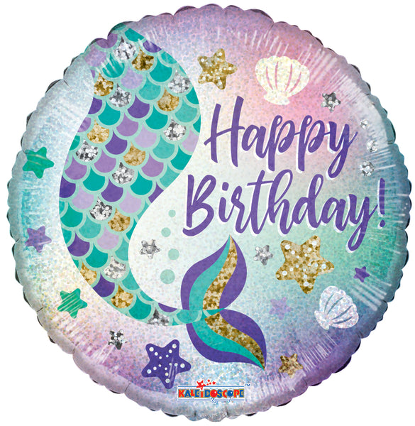 "Mermaid Holographic Birthday Balloons (18"") - White Spatula Singapore"