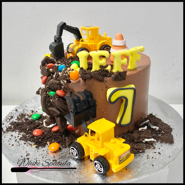 New Construction / Truck Buttercream Cake - White Spatula Singapore