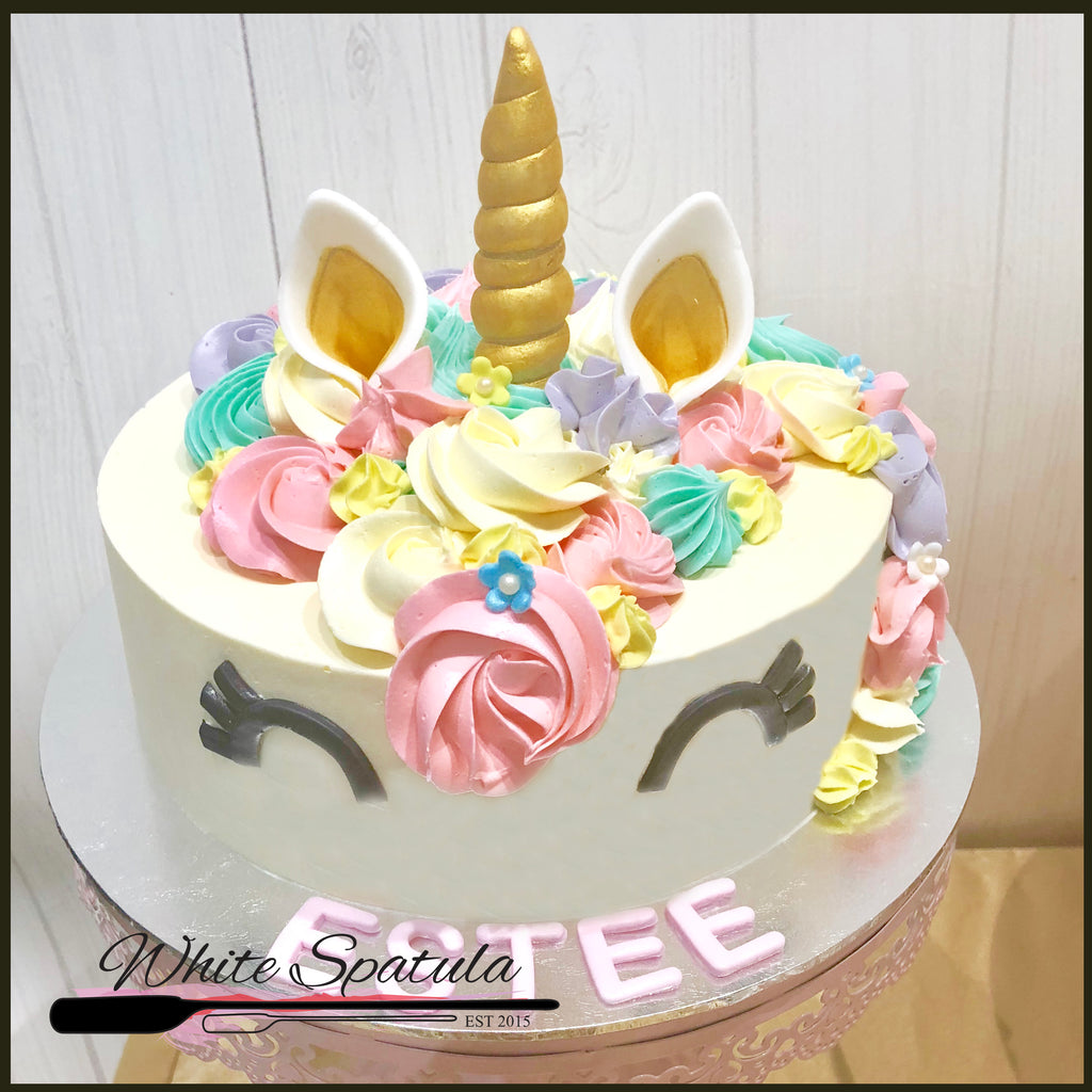 Unicorn Buttercream Cake - White Spatula Singapore