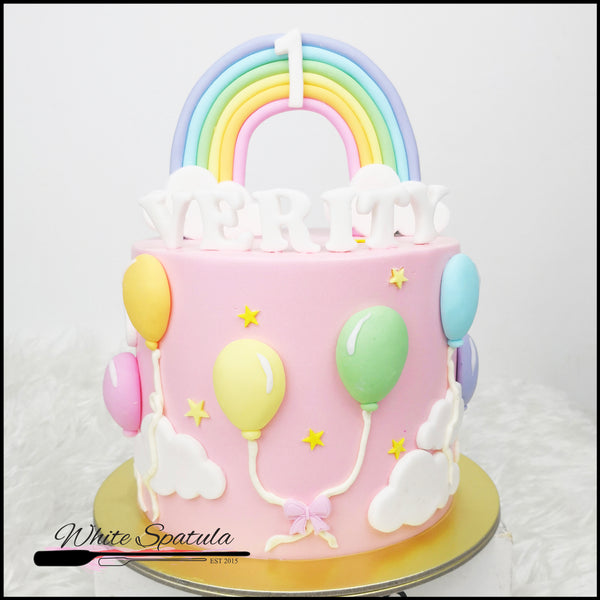 Pastel Rainbow Balloon Buttercream Cake - White Spatula Singapore