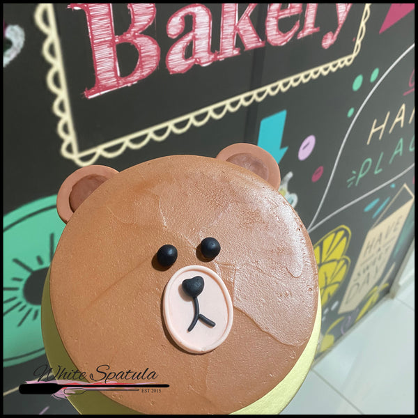 Brown Bear Minimalist Buttercream Cake