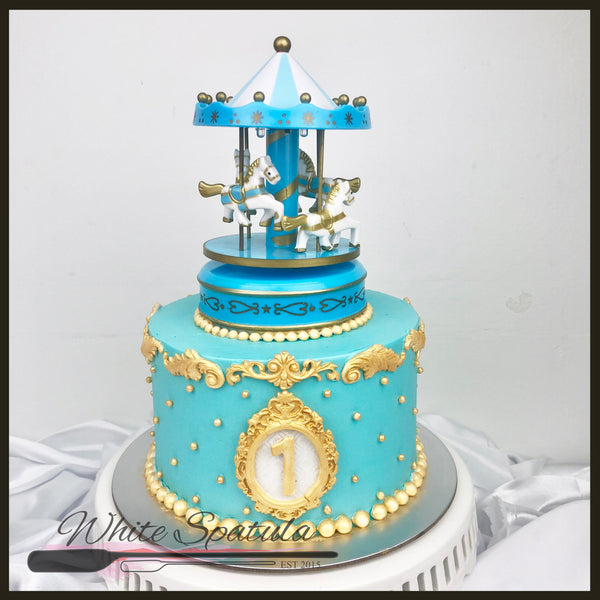 Blue Carousel Buttercream Cake - White Spatula Singapore