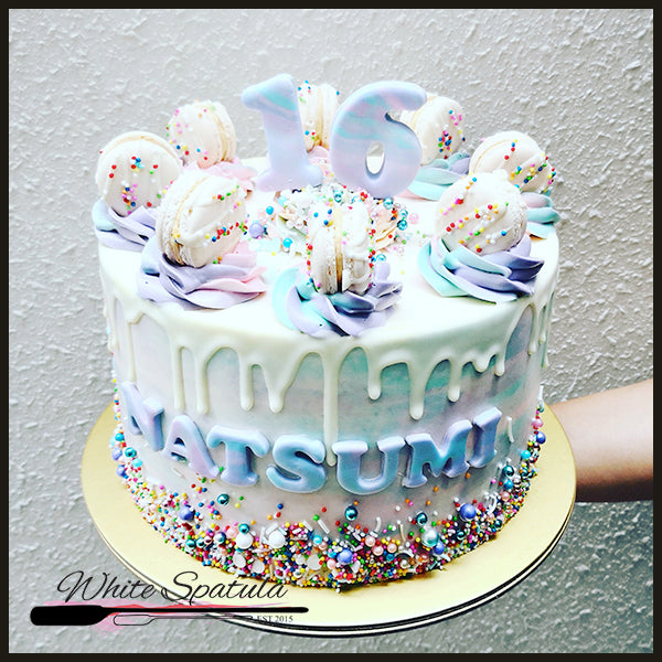 Pastel Rainbow Buttercream Cake - White Spatula Singapore