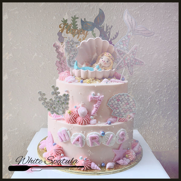 Pastel Mermaid Buttercream Cake - White Spatula Singapore