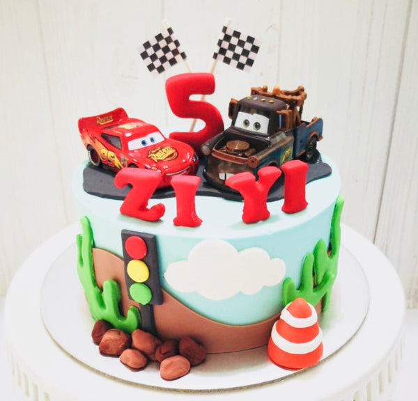 Cars Buttercream Cake - White Spatula Singapore