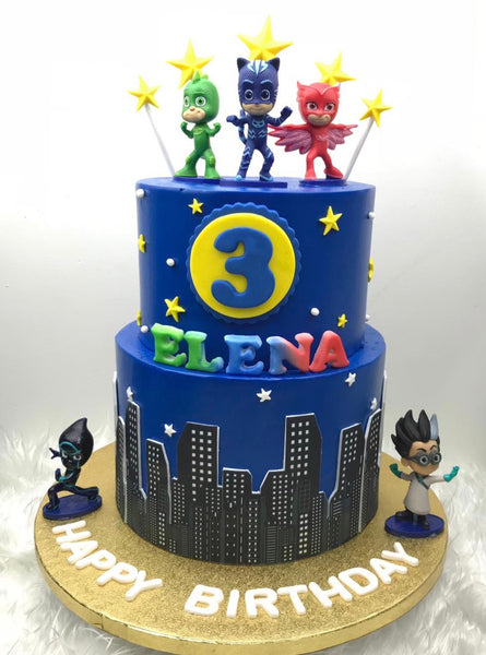 Cake + Authentic PJ Masks Collectible Figurine Set - White Spatula Singapore