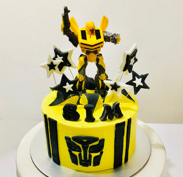 Transformers Bumble Bee Buttercream Cake - White Spatula Singapore