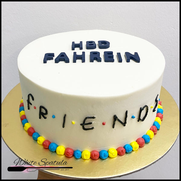 Friends Korean Lettering / Minimalist Buttercream Cake